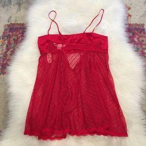 Victoria's Secret Intimates & Sleepwear - NWT Victorias Secret Red Silk & Lace Chemise XS